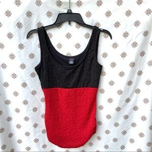 Rue 21 Textured Red/Black Long Tank Top Jrs M